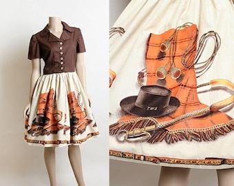 Vintage 1950s Dress - Novelty Print John Wolf Textile Design Fabric - Indiana Jones Cowboy Style Argentine Gaucho Bolas - Shirtdress - Large