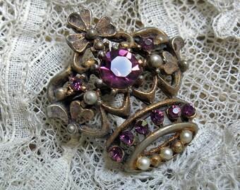 Vintage Rhinestone Crown Brooch ...  Petite Purple Rhinestone Crown Pin with Pearls ... Costume Jewelry, Doll Jewelry, Jewelry Assemblage