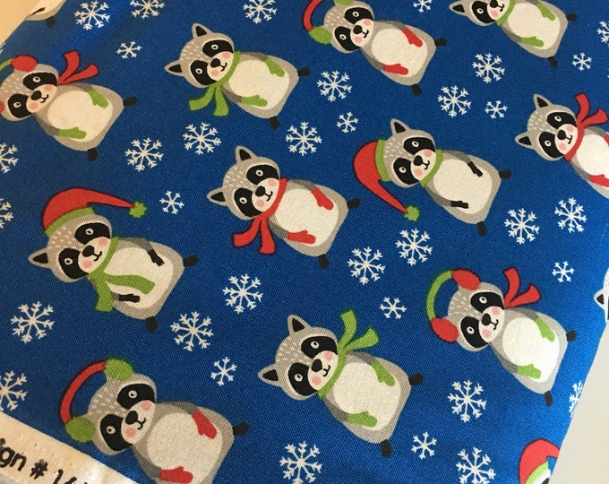 Raccoon fabric, Frosty Friends Christmas Fabric, Cotton fabric by the Yard, Raccoons in Blue- Choose the cut