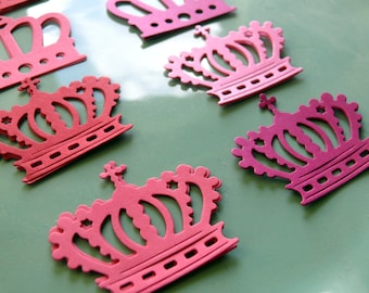 Pink Crown Confetti, Princess Crowns, Paper Crown, Princess Party, Birthday, Baby Shower, Die Cuts, Party Decoration, Raspberry, Coral