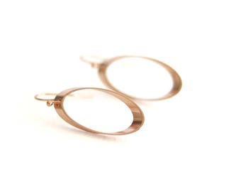 Rose gold earrings Oval drops geometric jewelry Edgy look Modern pink gold by VitrineDesigns