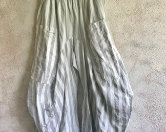 Pale grey stripe poplin lagenlook pant