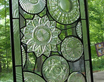 stained glass Vintage all Clear Collage Plate panel custom available