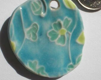 Porcelain Turquoise and Jade Flower Pendant