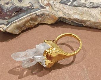 Dara Ettinger Free Form Quartz Crystal Cluster Cocktail Ring sz 6.25
