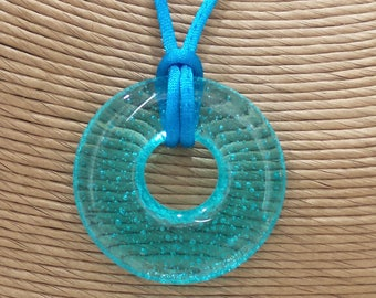 Transparent Blue Donut Pendant, Round Necklace, Handmade Jewelry, Fused Glass Jewelry, Ready to Ship - Arielle --6