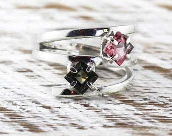 Tourmaline Womens Ring Green Pink 925 Sterling Silver Jewellery Rings