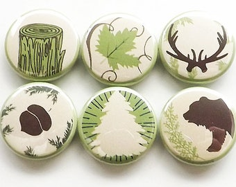 Outdoors Gift camping fridge magnets rustic home decor bear antlers acorn tree leaf nature adventure forest hiking party favors button pins
