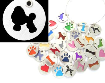 Poodle Sterling Silver Necklace Pendant Charm - Lots of Colors