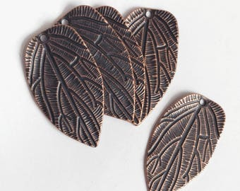 10 pcs of Antique copper double sided leaf pendant 38x21mm, Zinc alloy pendant