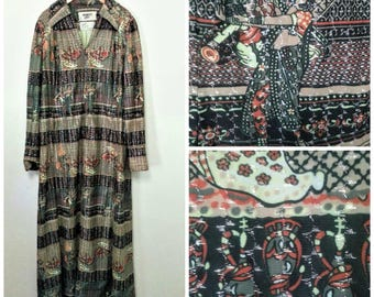 Amazing 70s Boho Belly Dance Hookah Print Dress Caftan Silver Lurex Medium Large 44 Bust