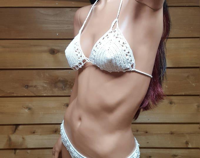 Featured listing image: White Crochet bikini set, elastic waist