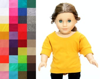 Fits like American Girl Doll Clothes - Banded Dolman Slouchy Tunic, You Choose Color