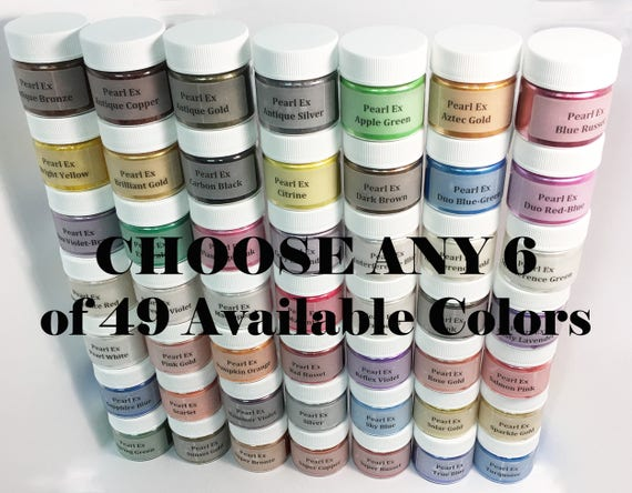 Pearl Ex Mica Pigment Powder - CHOOSE ANY 6 Colors - 6 gm - Art Craft Pigment Metallic Pearl Chromatic Finishes Paint Resin Wax Clay Media