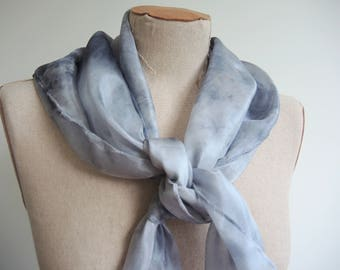 NEW Arctic Smoke large Silk scarf - hand-dyed silver grey and black square- unique wearable art OOAK ready to ship