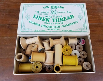 Vintage Cool Wooden Spool Assortment in a Vintage Thread Box