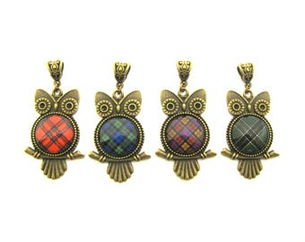PENDANT ONLY Scottish Tartan Jewelry - Choice of One 20mm Royal Stewart Black Watch Culloden Irish National or Custom Baby Owl Pendant