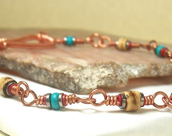 Men's Bracelet, Womens Bracelet, Copper Wire Wrapped, Turquoise Bracelet, Hematite Bracelet, Red Bracelet, Brown Bracelet, Coconut Shell