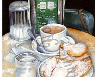 New Orleans Louisiana Cafe au Lait Coffee and Beignet Doughnuts Art Print from Original Artwork