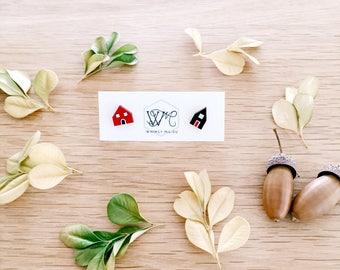 Icelandic cottage earrings . Wooden earrings . Stud earrings . Earring studs . Adventure travel lover . Gift for Her . Gift for Teens