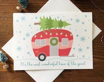 Christmas Camper. Retro Camper Card. Christmas Tree. Holiday Card. Single Xmas Card. Snowflake Card. Blank Card. Outdoor Card.