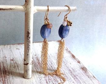 Kyanite Earrings - Pink Tourmaline Earrings - Rose Quartz Earrings - October Earrings - Gold Tassel Earrings - 14kt Gold Earrings