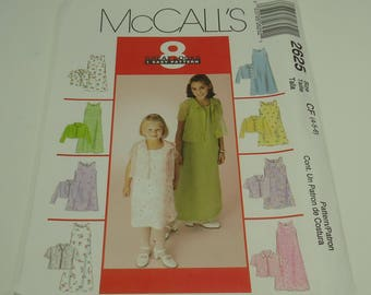 McCalls Easy Children's And Girls' Dress And Shirt-Jacket Pattern 2625 Size 4, 5, 6 One Great Pattern 8 Great Looks
