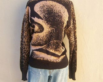 80s disco sweater /sparkly black pullover abstract copper swirl / boatneck, lightweight womens small medium