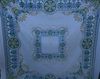 Vintage White with Green, Blue & Yellow Decorative Print Tablecloth