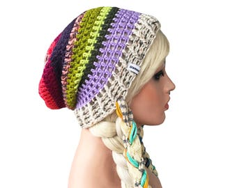 Slouch Beanie Colorful Mix Match Crochet Slouch Beanie Hat with Ties