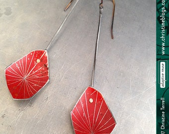 Etched Red Starburst--Upcycled Tin Earrings