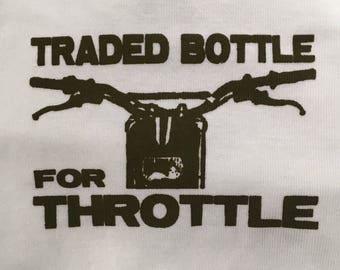 Last in stock!! Olive Green/Dark Khaki Hardcore Baby Motorcycle Dirt Bike Traded Bottle for Throttle Onesie Bodysuit Tshirts