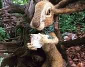 Needle Felted Anthropomorphic Mad March Hare/ Easter Rabbit Figure Doll Wonderland