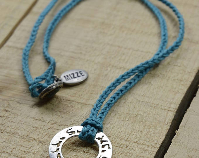 Men's I Am My Beloved and My Beloved Is Mine Handknit Charm Necklace in Turquoise