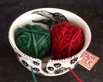 Jumbo Raven Yarn Bowl with 3 Holes, Spiral Yarn Channel Made in Taos