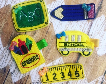 Back To School Set of 5 Hair Clippies - girls photo prop cute supplies - READY TO SHIP