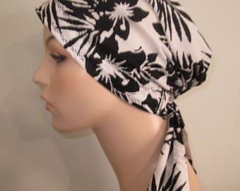 Black and White Floral Print  Chemo Scarf, Hat, Cancer Hat, Hijab, Alopecia