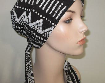 Black White Print Chemo Scarf, Hat, Cancer Hat, Hijab, Alopecia