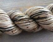 Hand Dyed Yarn, Sock Weight Superwash Merino Wool, Indie Dyed Speckled Yarn, Merino & Nylon Blend, 2 ply, Brown, cream, yellow, rust Yarn