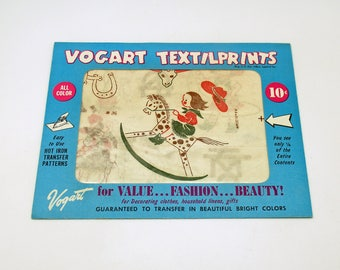 Vintage Vogart Textilprints Cowgirl Country Western Hot Iron Transfers Dish Towel Patterns