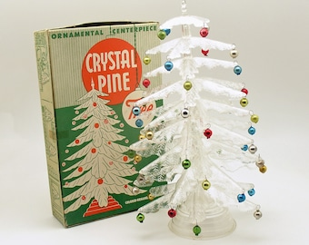 Vintage Christmas Tree Crystal Pine Tree Glass Ornaments