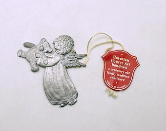 Vintage Christmas Ornament Angel Teddy Bear Wilhelm Schweizer Pewter West Germany