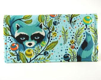 Fabric Checkbook Cover, Receipt or Cash Wallet, Checkbook Holder, Women's Wallet, Blue Raccoon Print