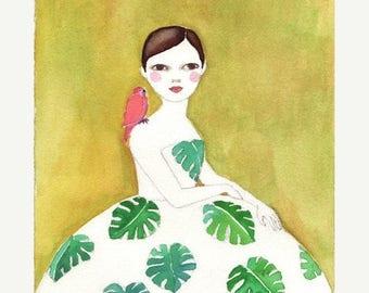 Sale Monstera Girl Deluxe Edition Print  of original watercolor