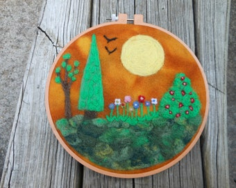 Wool Needle Felted Picture Sunny Day Landscape Wall Hanging