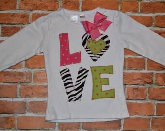 "Girls 18 mth ** REaDY 2 SHiP**SaMPLe SaLE ** Valentines Day ""WILD CHILD"" collection LOVE shirt 12-18 month Modern Holidays Zebra pink green"
