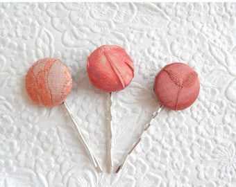 CLEARANCE - 3 copper/peach hair-pins, embroidered hairpins, fabric hairpins, 1 1/8 inch hairpins, hair accessory, womens accessory