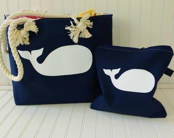 Canvas Beach Bag - Whale Tote Bag - Whale Beach Bag - Summer Outdoors - Beach Bag - Large Beach Bag - Waterproof Beach Bag
