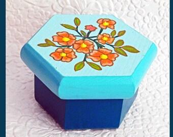 Teal, Trinket Box, Jewelry Box, Jewelry Organizer, Hand Painted, wood Jewelry Box Handmade, Floral Design, Unique Gift, Keepsake Jewelry Box
