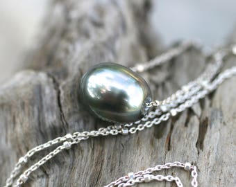 Tahitian Pearl Necklace, Sterling Silver Satellite Necklace, Floating Tahitian Large Pearl Necklace, Genuine Tahitian Pearl Jewelry